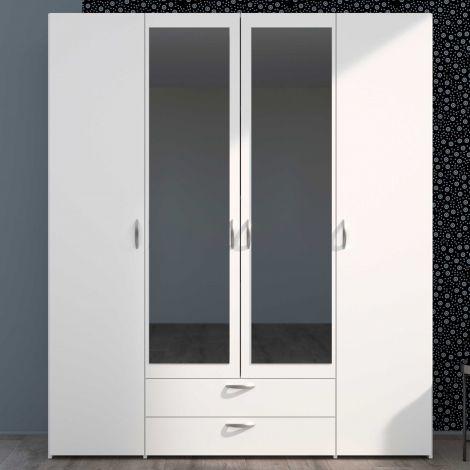 Armoire de rangement Salvador miroirs, 4 portes & 2 tiroirs - blanc