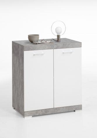 Commode Cristal 2 portes 80x90x50 - béton/blanc brillant