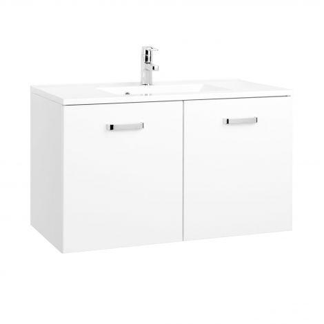 Meuble vasque Bobbi 90cm 2 portes - blanc