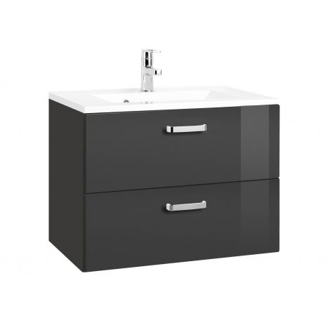 Meuble vasque Bobbi 70cm 2 tiroirs - graphite/gris brillant