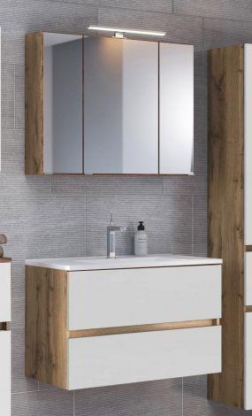Ensemble salle de bains Luna 2 pièces 80cm - chêne/blanc