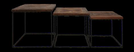 Lot de 3 tables basses Austin - bois de Java recyclé/noir