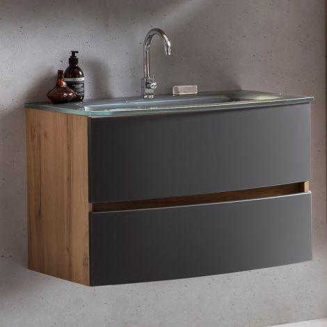 Meuble vasque Kornel 80cm avec vasque grise - chêne/gris mat