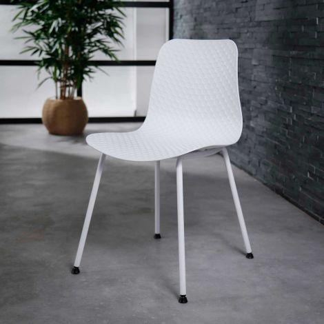 Chaise cadre en poudre PP - Lot de 4 - Blanc