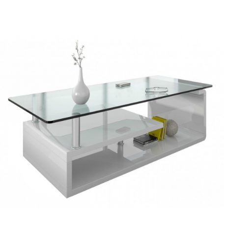 Table basse Hilda avec plateau en verre - blanc brillant