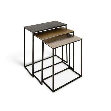 Lot de 3 tables d'appoint Rina - noir/or/cuivre