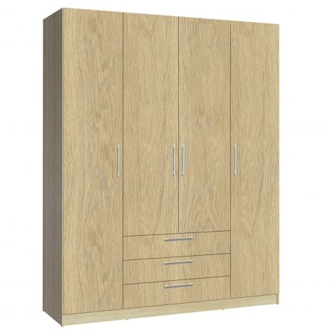 Armoire Tarn 160cm à 4 portes & 3 tiroirs - chêne
