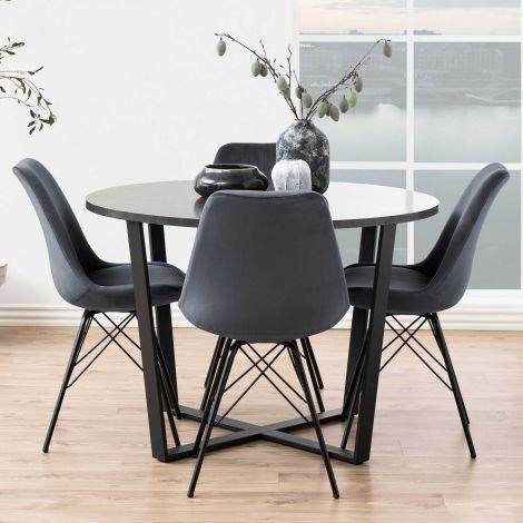 Table à manger Amanda Ø110 - marbre/noir