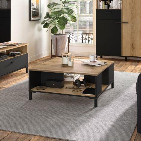 Table basse Tando 81x81 industriel - chêne/noir