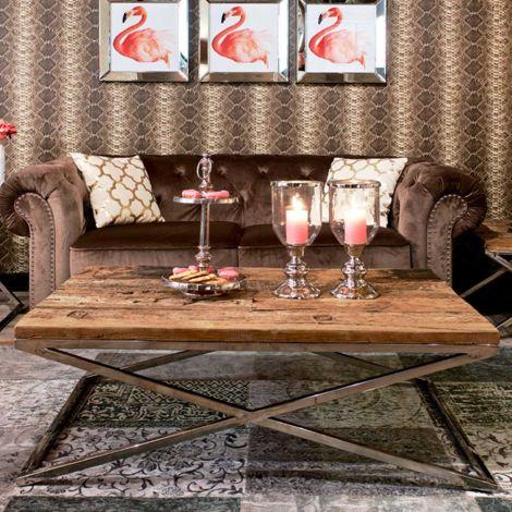Table basse Kensington 130x80 - brun/argent