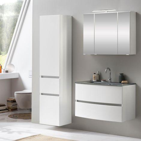 Ensemble salle de bains Kornel 5 à 3 pièces avec vasque grise - blanc