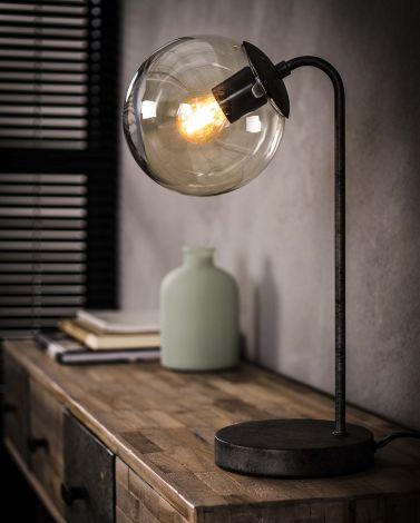 Lampe de table sphère ronde - Finition argent ancien