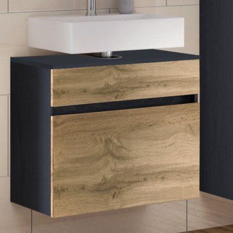 Meuble sous lavabo Luna 60cm 1 tiroir - graphite/chêne