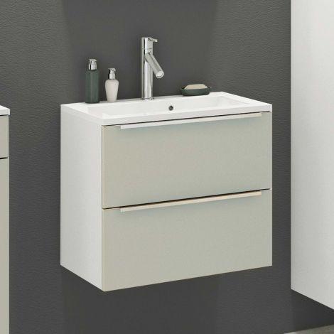 Meuble lavabo Hansen L60xP48cm avec 2 tiroirs - gris/blanc