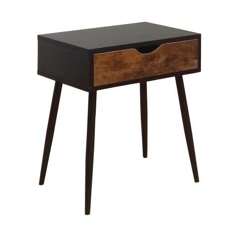 Table de chevet Aloski 45cm avec 1 tiroir - noir
