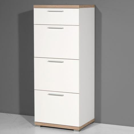 Chiffonnier Tosun 48cm avec 4 tiroirs - blanc/chêne