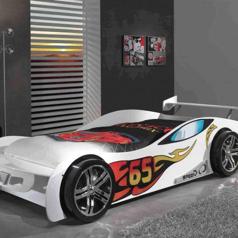 Lit voiture Le Mans - blanc