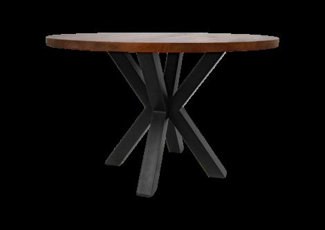 Table à manger ronde Oakland ø120cm - bois de manguier/fer