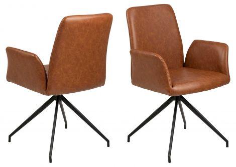 Chaise pivotante Robert - cognac/noir