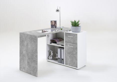 Bureau d'angle Albrecht 117cm - béton/blanc