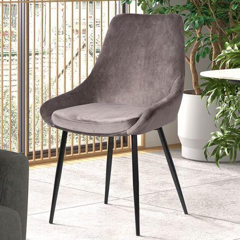 Lot de 2 chaises Mirano métal/velours - gris