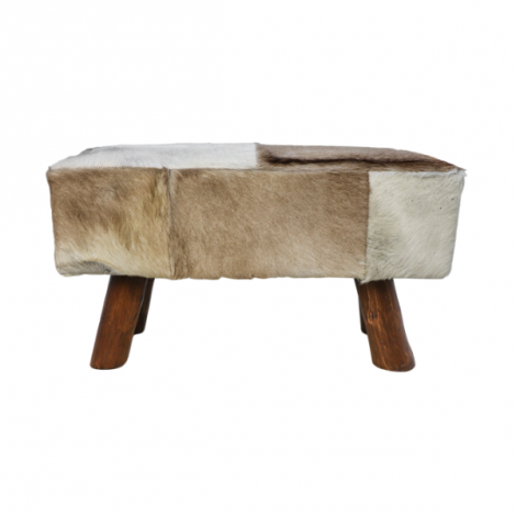 Banc décoratif Bangku 77cm robuste - peau de chèvre/teck