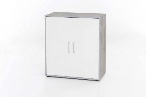 Bahut Denise 2 portes - blanc/béton