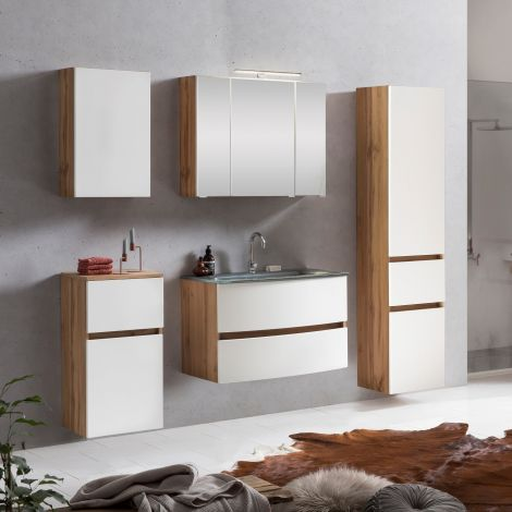 Ensemble de salle de bains Kornel 14 à 5 pièces avec vasque grise - chêne/blanc mat
