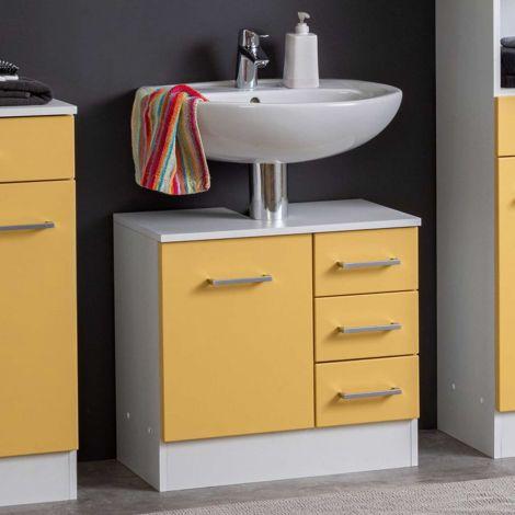 Meuble sous lavabo Ricca 60cm 1 porte & 3 tiroirs - blanc/jaune