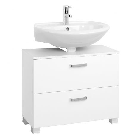 Meuble sous lavabo Bobbi 70cm 1 porte et 1 tiroir à fermeture douce - blanc