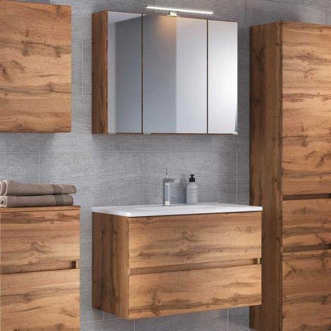 Set meuble lavabo Brama 80cm - chêne wotan