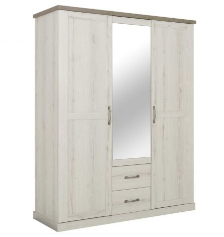 Armoire Mona 167cm avec 3 portes & miroir - chêne helvézia blanchi