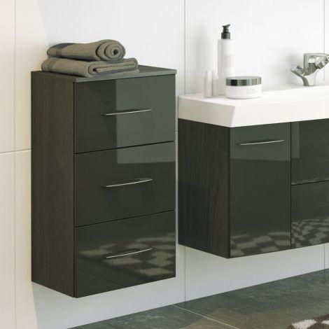 Armoire salle de bains Florent 40cm 3 tiroirs - graphite/gris brillant