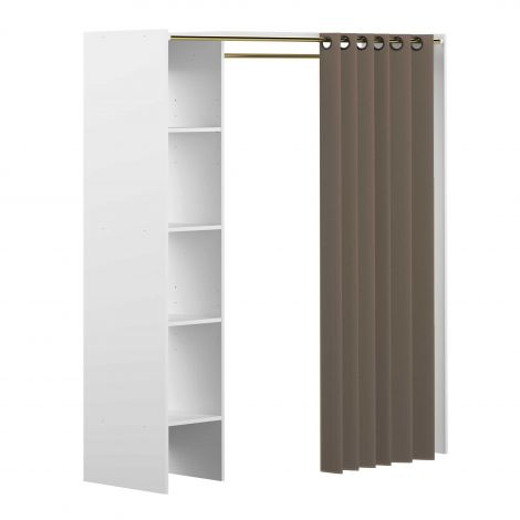 Armoire Tom - blanc/taupe