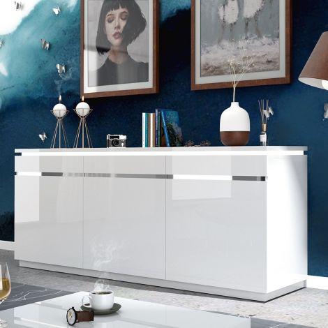 Bahut Elif 200cm à 3 portes - blanc brillant