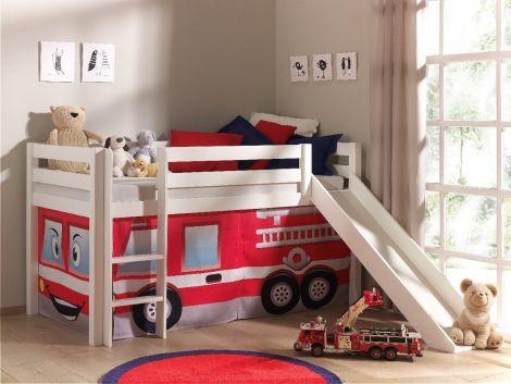 Lit mi-hauteur Astrid blanc avec toboggan - tente pompier
