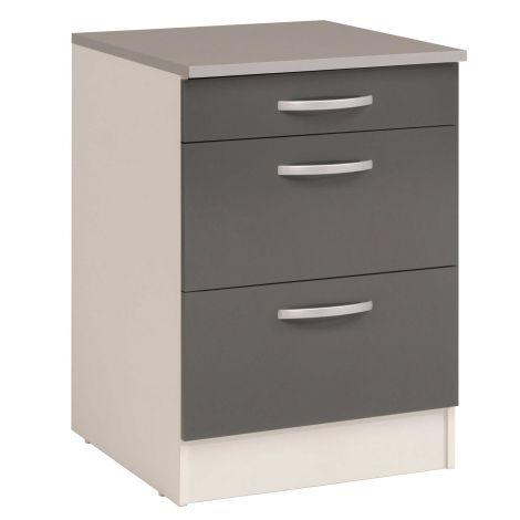 Meuble bas Oke 60x60 avec 3 tiroirs - gris