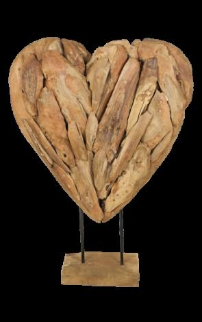 Décoration Coeur grand - teck