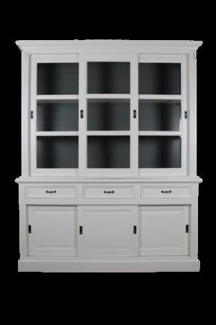 Vaisselier Provence 180cm à 6 portes & 3 tiroirs - blanc/gris foncé