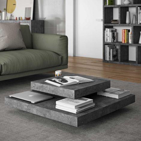 Table basse Slato 90x90 à 3 niveaux - béton/blanc