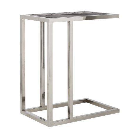 Table d'appoint Bony 55x35cm - noir/argent