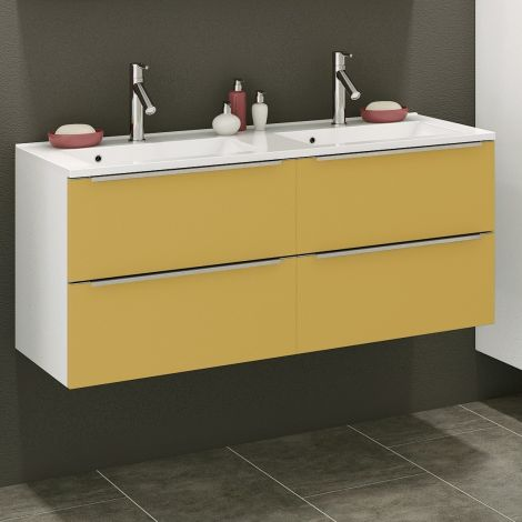 Meuble lavabo Hansen 120cm 4 tiroirs - jaune/blanc