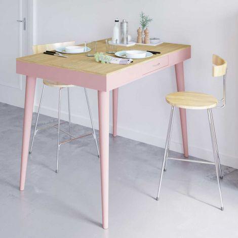 Table de bar Horizon 134x85 avec 2 tiroirs - chêne/rose