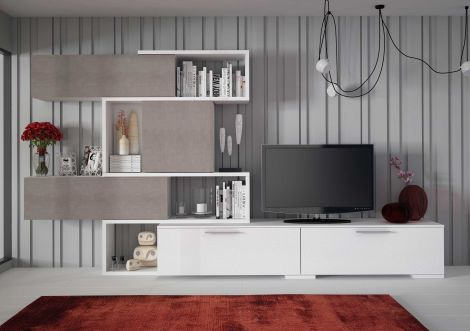 Meuble tv Verena 230cm - blanc/béton