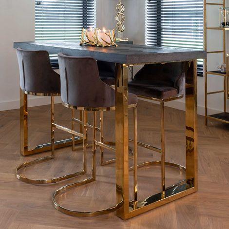 Table de bar Bony 160x80cm - noir/or