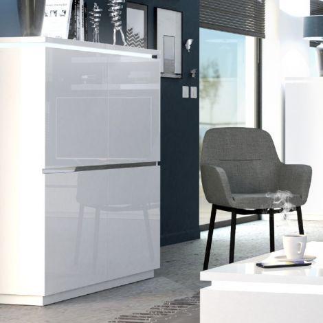 Vaisselier Elif 110cm à 4 portes - blanc brillant