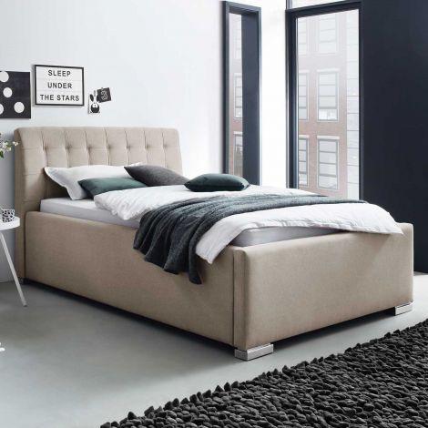Lit Homera avec tête de lit capitonnée 180x200 - beige