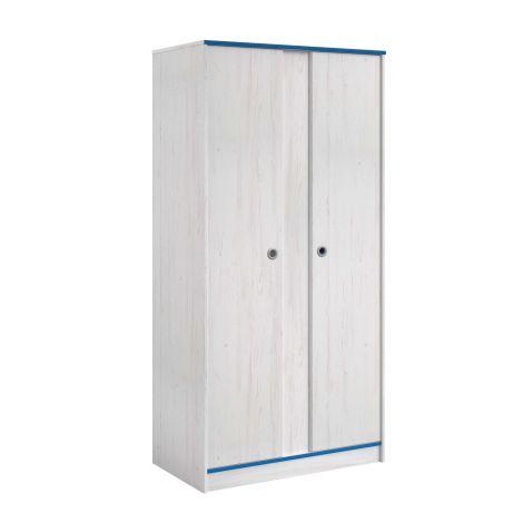 Armoire Smiley 90cm à 2 portes - blanc/rose ou blanc/bleu