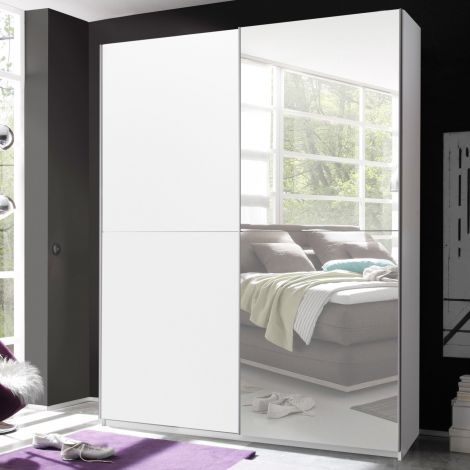 Armoire Wouter 170cm avec 2 portes & miroir - blanc