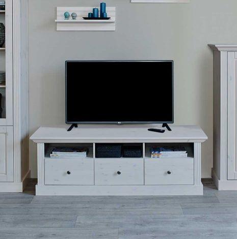 Meuble tv Edmund 3 tiroirs 145 cm - blanc